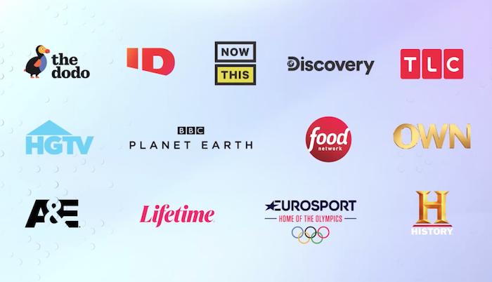 Loga televizních stanic Disocvery, která tvoří páteř nové služby Discovery+