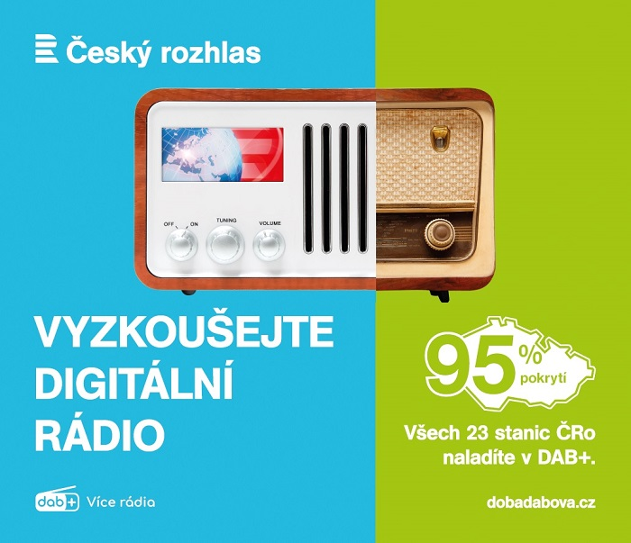Klíčový vizuál kampaně Českého rozhlasu na podporu DAB+, zdroj: Český rozhlas