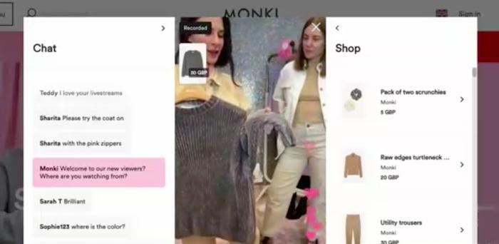 Ukázka z livestreamu značky Monki, zdroj: Contagious