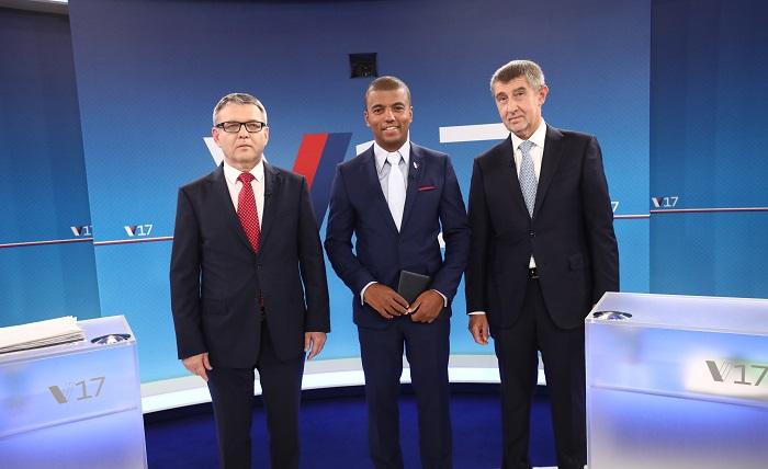 Lubomír Zaorálek, Ray Koranteng a Andrej Babiš, foto: TV Nova
