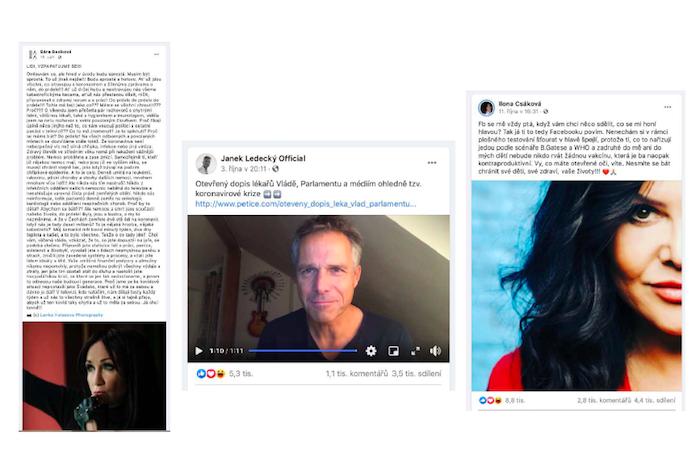 Bára Basiková, Janek Ledecký nebo Ilona Csáková na podzim šířily dezinformace přes své sociální sítě, zdroj: Nelež.