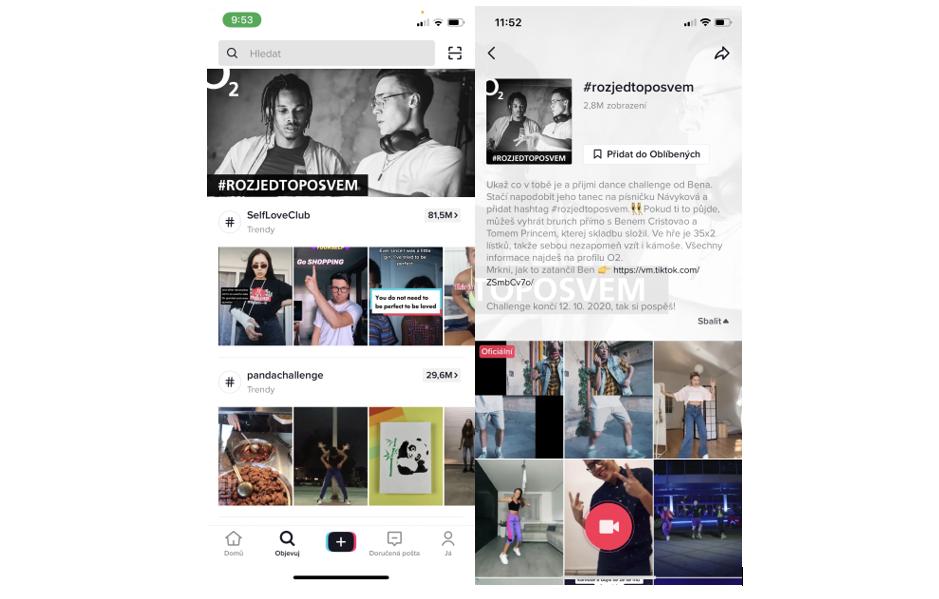 Banner k # challenge byl umístěn po dobu trvání výzvy na prvních místech discovery page a po prokliku vedl do samotné # challenge page, zdroj: O2, Bistro Social