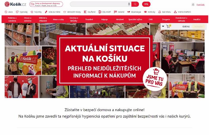 E-shop Košík.cz se snažil zákazníky uklidnit a vysvětloval, jak se chovat během pandemie, zdroj: Košík