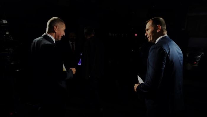 Andrej Babiš a Jaromír Soukup v pořadu Duel Jaromíra Soukupa, foto: TV Barrandov
