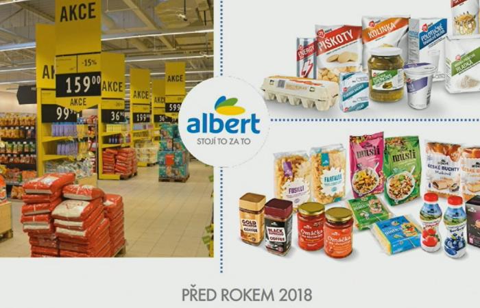 Před rokem 2018 měly vlastní značky Alberta jiný vzhled, zdroj: Albert