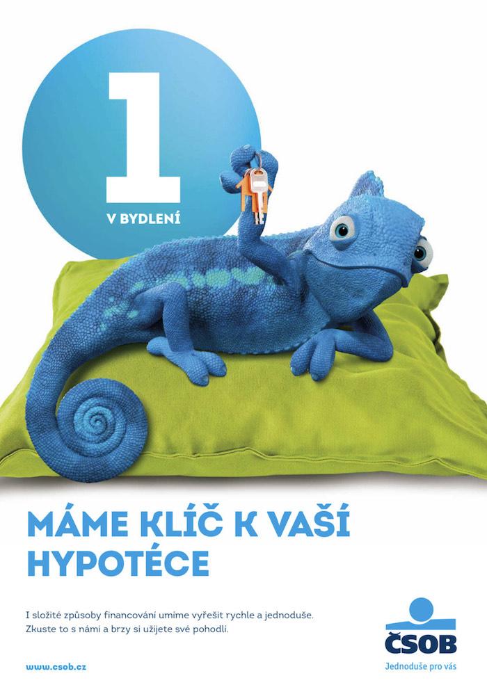 Klíčový vizuál s novým maskotem – modrým chameleonem, zdroj: ČSOB