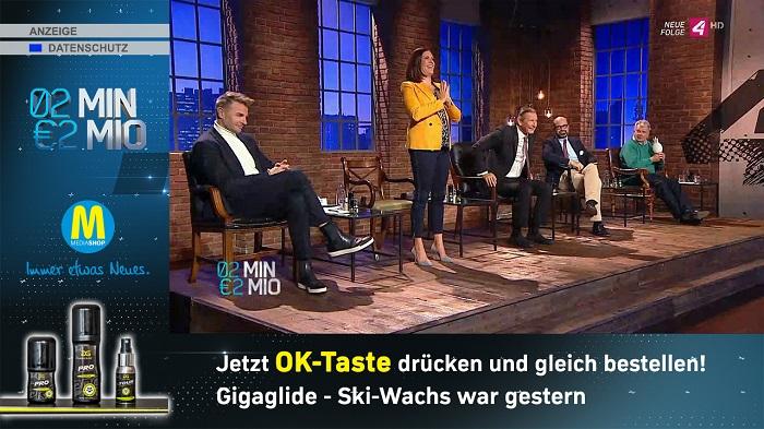 Inzerovaný produkt v televizní show - diváci jsou vyzváni ke stisku tlačítka OK a k okamžitému objednání výrobku, zdroj: ProSiebentSat.1 Puls 4