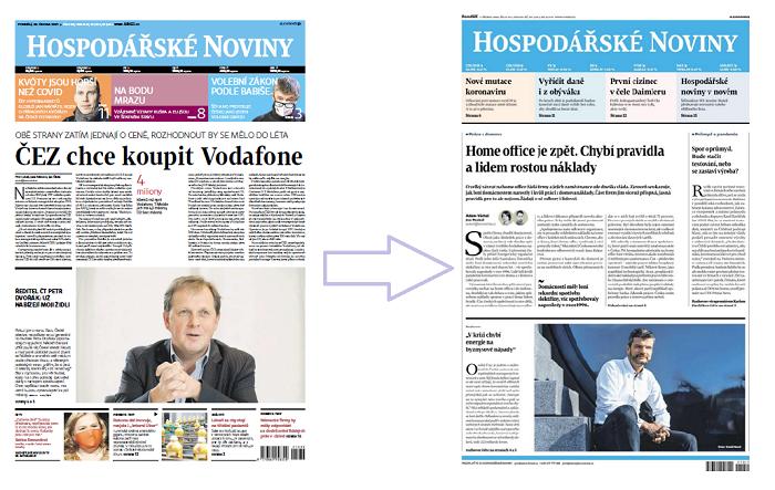 Vlevo původní podoba HN, vpravo nová podoba deníku od 1.3. 2021