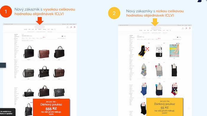 Možnosti personalizace nabídky pro zákazníky s různou nákupní aktivitou, zdroj: Samba