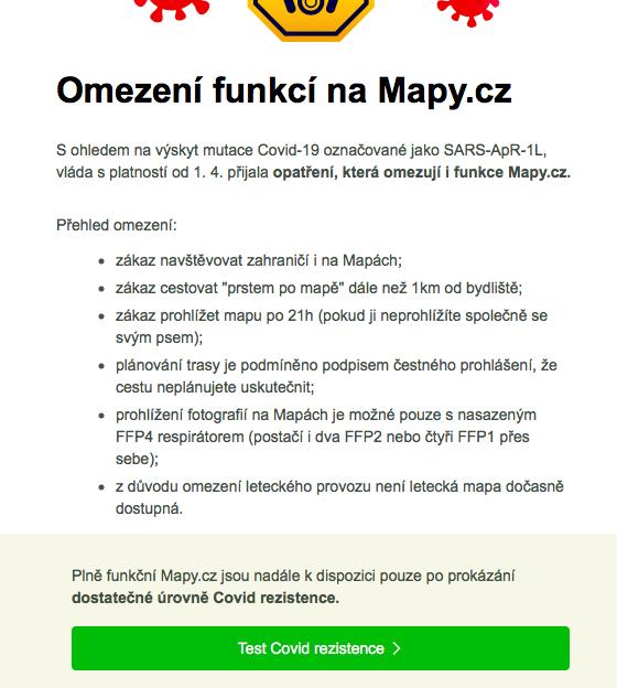 Aprílový žertík od Mapy.cz, zdroj: Mapy.cz