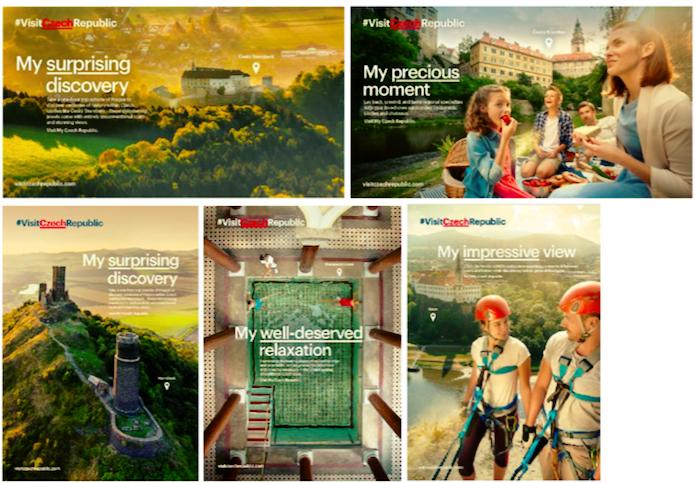 Ukázky vizuálů kampaně na podporu incomingového cestovního ruchu, zdroj: CzechTourism