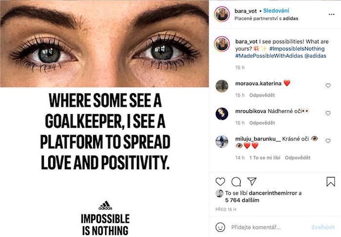S kampaní na sociálních sítích spolupracuje i fotbalistka Barbora Votíková, zdroj: Adidas.