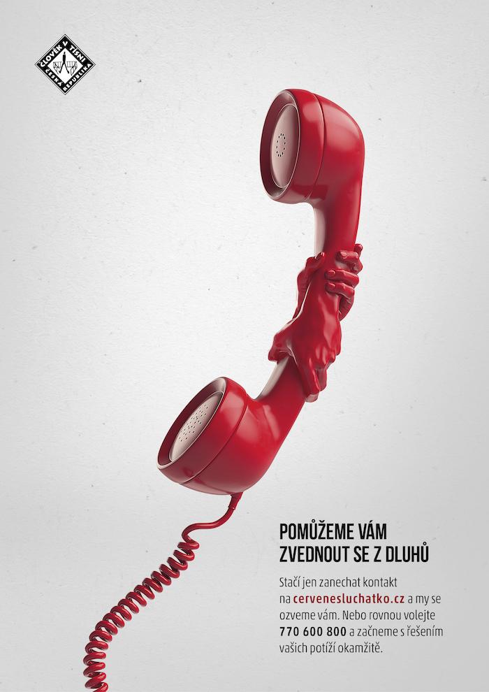 Klíčový vizuál ke kampani Červené sluchátko, zdroj: Člověk v tísni