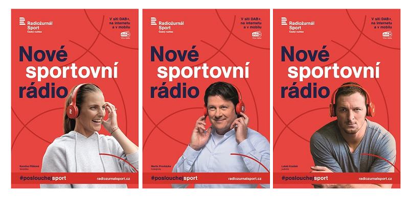 Vizuály kampaně na podporu stanice Radiožurnál Sport, zdroj: Český rozhlas