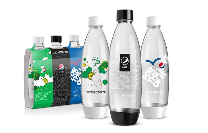 Sortiment opakovaně použitelných lahví doplní sada s motivy příchutí Pepsi, Pepsi Max a 7 UP, zdroj: SodaStream