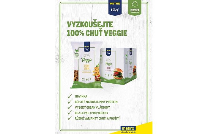 Klíčový vizuál řetězce Makro, kterým nabízí rostlinné burgery, mleté, trhané maso nebo stripsy, zdroj: Makro ČR