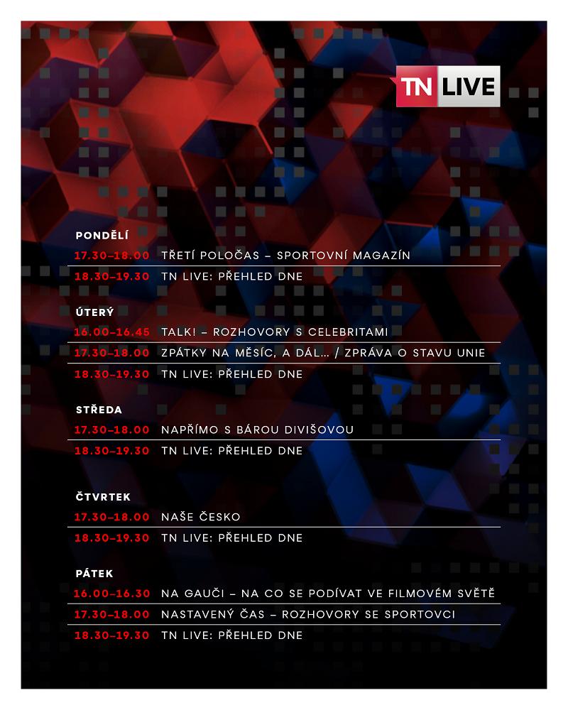 Programové schéma TN Live, zdroj: TV Nova