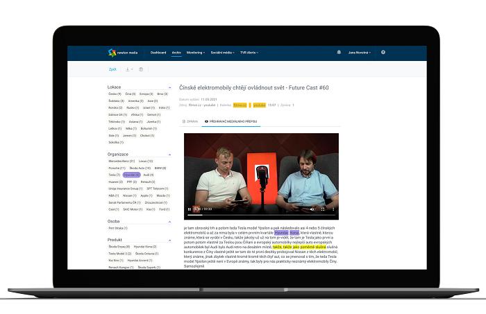 Ukázka nové aplikace Newton Media, zdroj: Newton Media