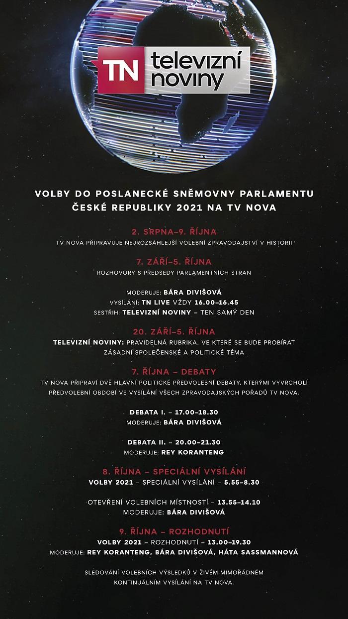 Volební vysílání TV Nova 2021, zdroj: TV Nova