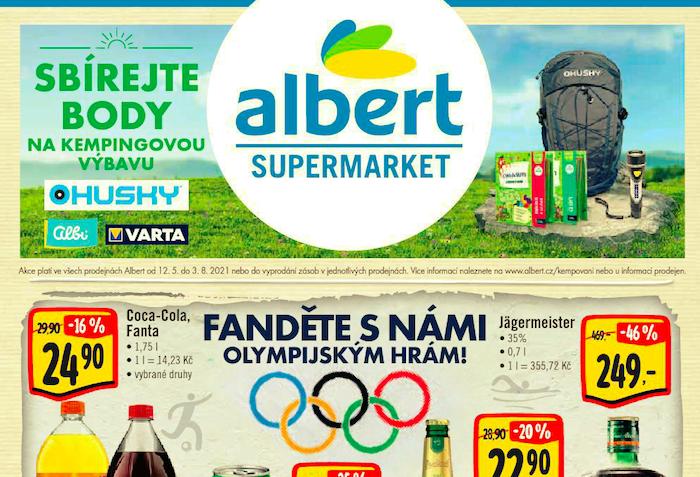 Detail olympijské symboliky na letáku řetězce Albert, zdroj: Albert