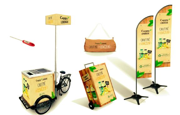 Sampling Cappy Lemonade využije cyklo lednice, tašky i vozík, zdroj: Coca-Cola.
