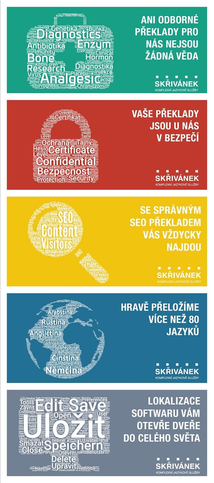 Vizuály z nové kampaně jazykové agentury Skřivánek, zdroj: Skřivánek