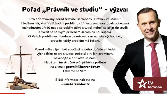 Výzva diváků k přihlášení se do nového pořadu Právník ve studiu, zdroj: TV Barrandov
