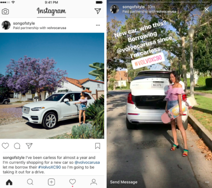 Ukázka placeného obsahu s novým nástrojem od Instagramu, foto: Instagram