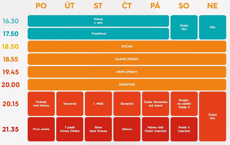 Programové schéma TV Prima pro podzim 2021, zdroj: FTV Prima