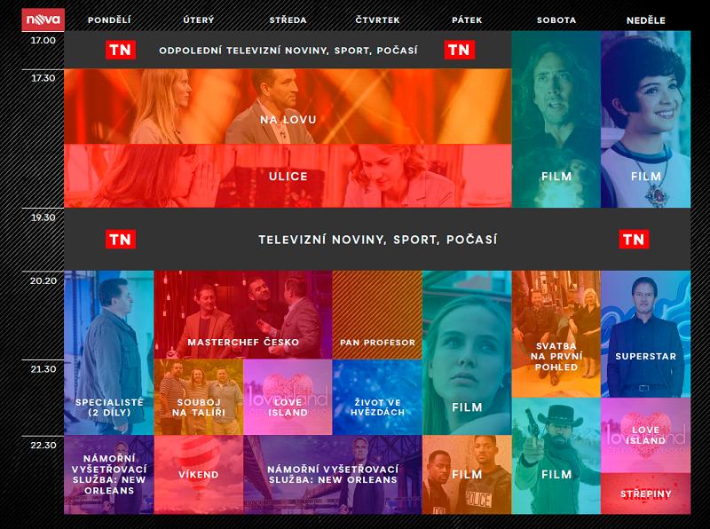 Programové schéma TV Nova podzim 2021, zdroj: TV Nova