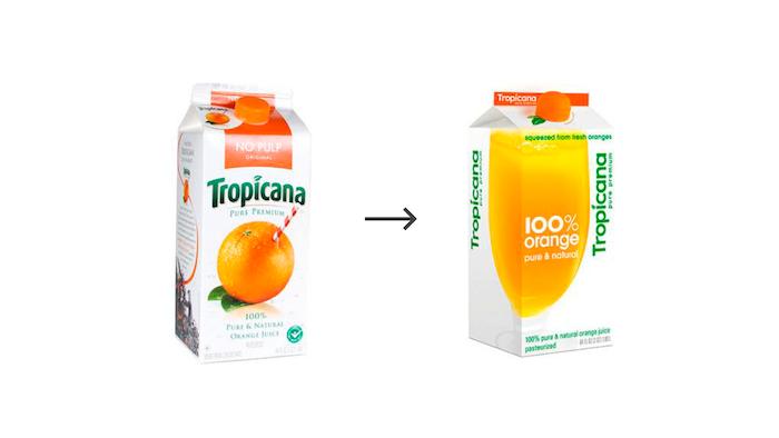 Změna designu obalu měla špatné dopady na prodej, že se po několika týdnech Tropicana vrátila k původním symbolům (Zdroj: bit.ly/RedesignTropicana)