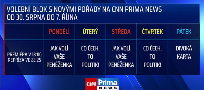 Volební pořady CNN Prima News, zdroj: FTV Prima