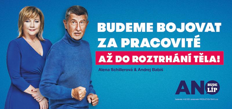 Alena Schillerová a Andrej Babiš  na volebním plakátu ANO. Zdroj: ANO