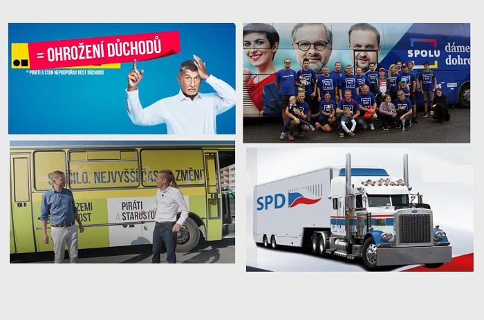 Ilustrační foto z předvolebních kampaní čtyř nejsilnějších subjektů podle volebního modelu STEM k 12.9. 2021