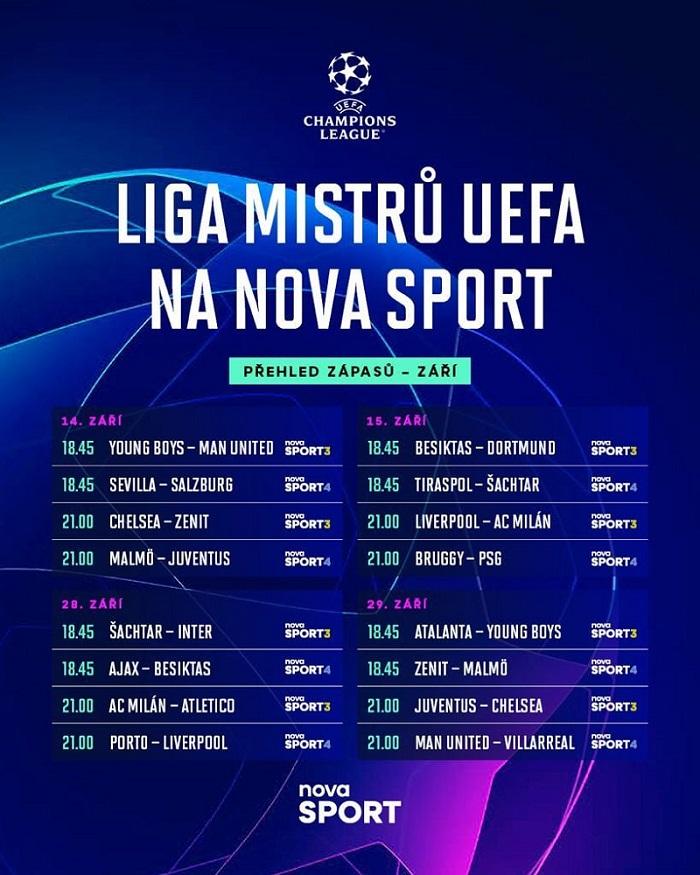 Rozpis zářijových utkání Ligy mistrů ve vysílání Nova Sport, zdroj: TV Nova
