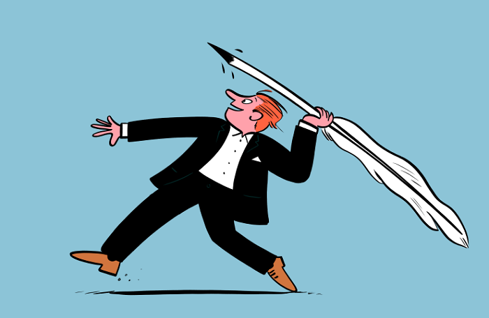 Symbolem Gazetista je obrázek od Marka Longa, britského ilustrátora The Guardian a dalších periodik. Zdroj: Gazetisto