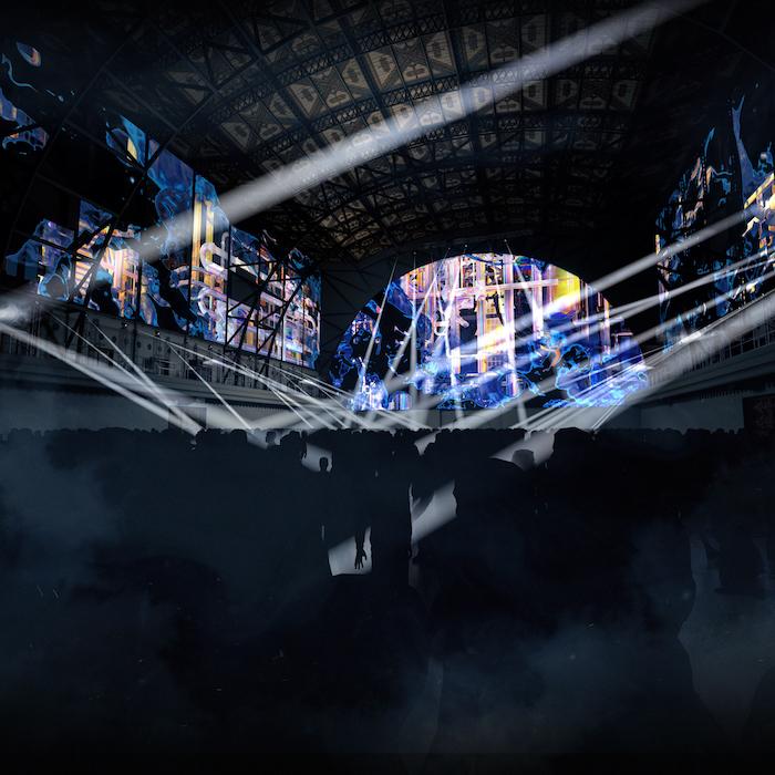 3D projekce Superar od španělského studia Onionlab v Průmyslovém paláci na Výstavišti Praha, zdroj: Signal festival