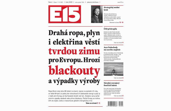 Titulní strana deníku E15, pátek 1.10. 2021, zdroj: repro E15