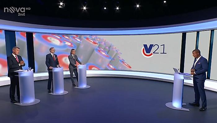 Volební debata tří lídrů s nejvyššími preferencemi na TV Nova, zdroj: repro vysílání TV Nova
