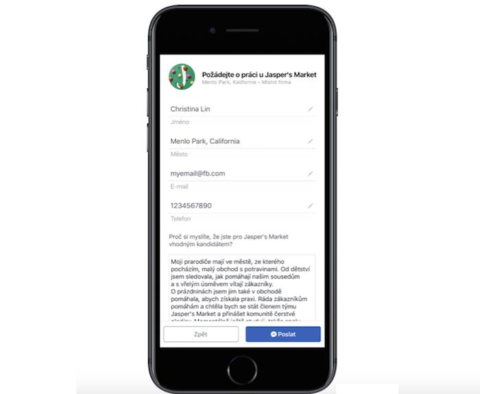 Přihláška o zaměstnání prostřednictvím Facebook Jobs