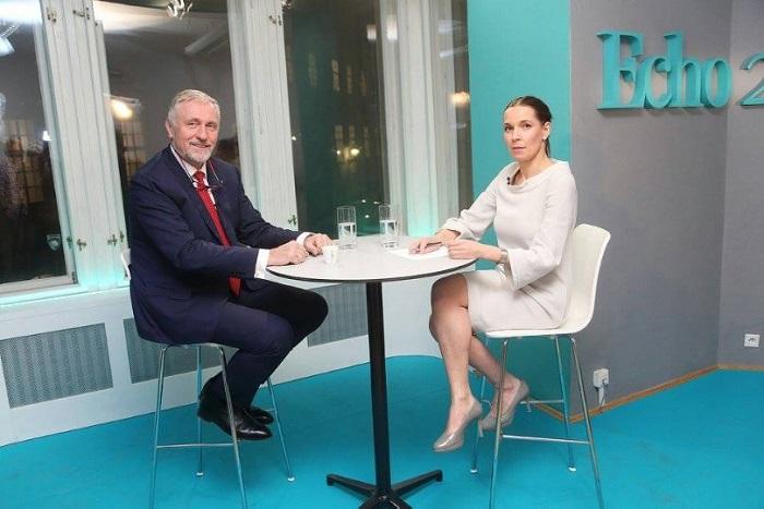 Mirek Topolánek a Lenka Zlámalová při prvním natáčení Echo TV foto: Echo Media, Jan Zatorsky