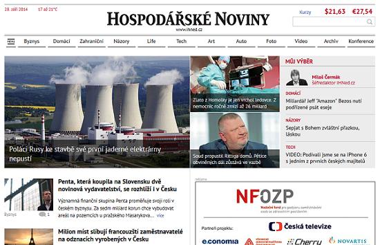 Dřívější podoba webu iHned.cz