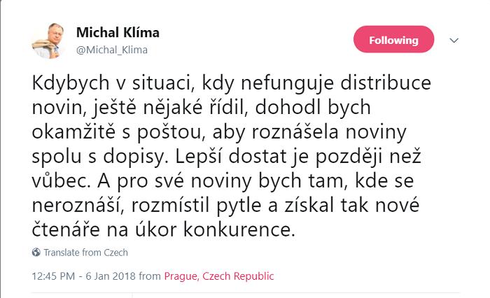 Zdroj: twitterový účet Michala Klímy