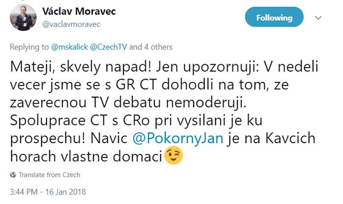 Z odpovědi Václava Moravce na twitteru