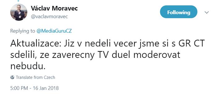 Twitterový účet Václava Moravce