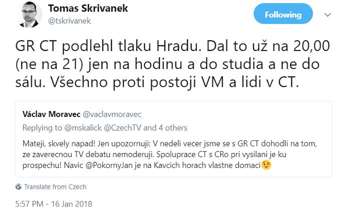 Twitterový účet Tomáše Skřivánka