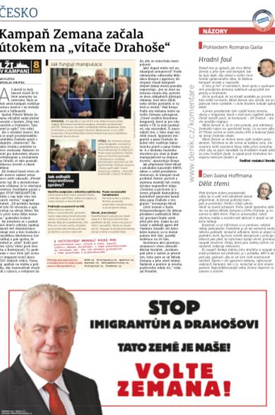 Vydání regionálního Deníku, čtvrtek 18.1. 2018