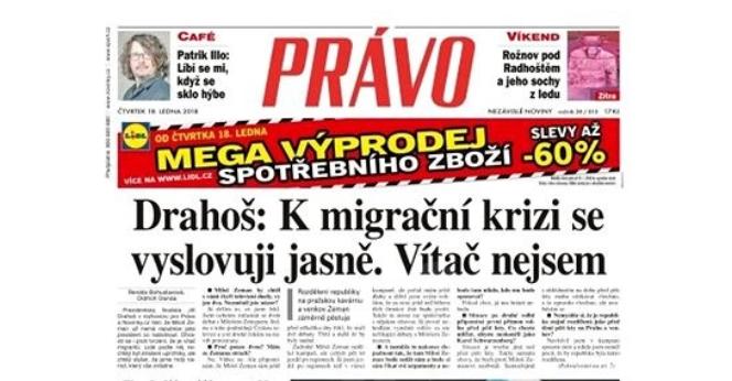 Titulní strana deníku Právo, čtvrtek 18.1. 2018