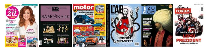 Titulní strany některých nových časopisů roku 2017