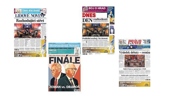 Titulní strany pátečních deníků, 26.1. 2018